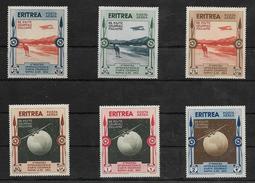 Eritrea 1934 Posta Aerea Serie Completa Francobolli Mostra D'arte (s.47 Sassone 6 Valori Lievi Tracce Linguella ) - Eritrea