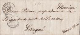17320# LETTRE Obl COMBREE 1867 T15 MAINE ET LOIRE Au Dos 3325 BUREAU DE PASSE SAUMUR Pour LONGUE - 1849-1876: Période Classique