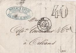 17322# LETTRE TAXE 40 Obl ROUEN 1874 T17 SEINE MARITIME Pour ORLEANS Au Dos PARIS * - Marcophilie (Lettres)