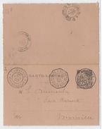 MADAGASCAR -1895 - CARTE-LETTRE ENTIER ALPHEE DUBOIS De TAMATAVE => MARSEILLE POSTE RESTANTE Avec OBLITERATION MARITIME