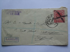 PAKISTAN 1950 REGISTERED AIR MAIL COVER LAHORE TO NOTTINGHAM ENGLAND - Pakistan