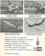 1968 -  Gary Nixon Triumph - Dan Garlits Dragster - Candele CHAMPION - 1 P. Pubblicità Cm. 13 X 18 - Sport