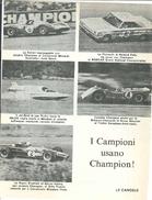 1968 - Ferrari - McLaren Chevrolet - Repco Brabham - Candele CHAMPION - 1 P. Pubblicità Cm. 13 X 18 - Automobilismo - F1