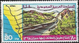 SAUDI ARABIA 1978 Opening Of Taif-Abha-Jizan Road - 80h Road & Route Map FU - Arabie Saoudite