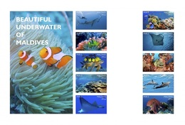 Maldives 2016, Underwater, Fishes, Turtle, Dolphins, Diving, 10val In Sheetlet IMPERFORATED
