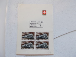 DOCUMENT DE LA POSTE SUISSE.BLOC DE 4.LOCOMOTIVE.MEETING INTERNATIONAL AVIATION A PORRENTRUY. - Suisse