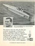 1968 - Motonautica DON ARONOW - Candele CHAMPION - 1 P. Pubblicità Cm. 13 X 18 - Sport