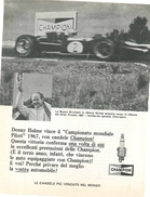 1968 - DENNY HULME - Repco Brabham - Candele CHAMPION - 1 P. Pubblicità Cm. 13 X 18 - Automobilismo - F1
