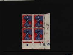 N° 1234 - 0, 25F Marianne A La NEF - F De E+F - Tirage Du 8.12.59 Au 18.3.60 - 10.12.1959 - - Dated Corners