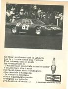 1966 - ABARTH - Campionato Mondiale Marche 1966 - Candele CHAMPION - 1 P. Pubblicità Cm. 13 X 18 - Automobilismo - F1