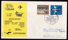 Germany: FFC First Flight Cover, 1963, 2 Stamps, Lufthansa Dusseldorf - Tokyo With Boeing 720 B (traces Of Use) - [7] West-Duitsland