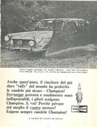 1966 - Peugeot - 14^ East Africa Safari - Candele CHAMPION - 1 P. Pubblicità Cm. 13 X 18 - Automobilismo - F1