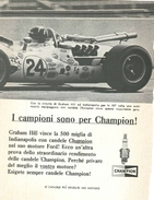 1966 - Graham Hill - Indianapolis - Candele CHAMPION - 1 P. Pubblicità Cm. 13 X 18 - Automobilismo - F1