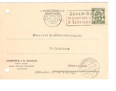 TP 425 Perforé V.G S/CP Verreries J.B.Gaasch C.Méc.Antwerpen+flamme Dover-Ostende 26/4/37 V.Gd Duché Remerschen PR4137 - Perfins