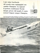 1965 - Motonautica Howard Weiler  - Candele CHAMPION - 1 P. Pubblicità Cm. 13 X 18 - Sport