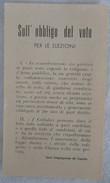 382E/51  SANTINO IMMAGINE IMPRIMATUR DEL 1948 PREGHIERA PER LE PROSSIME ELEZIONI POLITICHE OBBLIGO DEL VOTO - Devotion Images