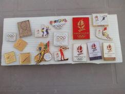 LOT DE 16 PIN´S PINS J.O JO  PANASONIC ALBERTVILLE 92 PARUIS 2012 LA POSTE SKI FRANCE TELECOM OLYMPICA OR - Lotti