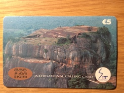 5€ Sigiri - Sri Lanka Telecom - Mountain Rock -  Little Printed  -   Used Condition