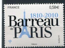 1819  - FRANCE   N° 4512**  Bicentenaire Du Barreau De Paris   1810 - 2010     SUPERBE - France