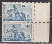 = Au Profit Des Oeuvres De Solidarité Française, Colonies Françaises N°66 Neuf En Paire Verticale - Otros