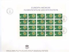 LIECHTENSTEIN - FDC - ANNO 1970 - BUSTONE - EUROPA MCMLXX - VADUZ AUSGABETAG - FOGLIETTO SU BUSTONE - EUROPA -