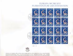 LIECHTENSTEIN - FDC - ANNO 1966 - BUSTONE - FUERSTENTUM MCMLXVI - EUROPA - FOGLIETTO SU BUSTONE - VADUZ AUSGADETAG -