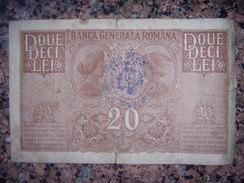 1B. Romania. 20 Lei. German Occupation. WW-I. Overprint. Purple  Stamp. - Romania