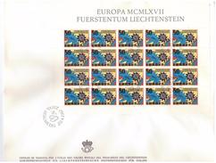 LIECHTENSTEIN - FDC - ANNO 1967 - BUSTONE - FUERSTENTUM MCMLXVII - EUROPA - FOGLIETTO SU BUSTONE - VADUZ AUSGADETAG -