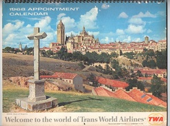 1968 Appointment Calendar Welcome To The World Of Trans Worls Airlines TWA - Petit Format : 1961-70