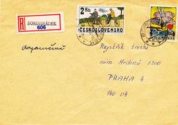 L3087 - Czechoslovakia (1980) Borohradek (R-letter) Provisional R-label (!), Tariff: 4 Kcs (stamp: 2 Kcs Cycling)