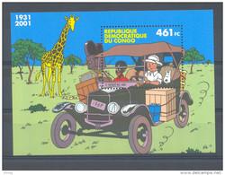 CONGO 2001 TINTIN KUIFJE  POSTFRIS** BLOK 205