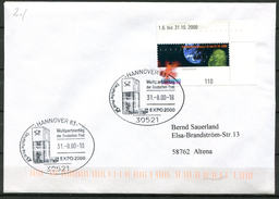 "Germany 2000 Sonderbeleg/Cover Weltausstellung EXPO Mit Mi.Nr.2130 U.SST""Hannover 83-EXPO 2000,Weltpartnertag""1 Beleg - 2000 – Hanovre (Allemagne)"