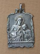 Beau Pendentif Médaille Religieuse Uniface De Communion Début XXe - Argent Poinçonné