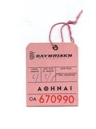 Etiquette De Bagages OAYMNIAKH AOHNAI OA 670990 - Étiquettes à Bagages