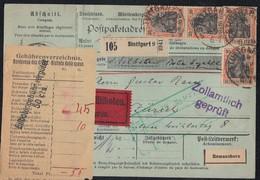 DR Paketkarte Eilbote Mef Minr.4x 89 Stuttgart 14.9.16 Gelaufen In Die Schweiz