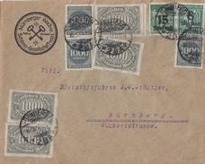 DR Brief Mif Minr.4x 252,3x 273,278x,279b Nürnberg 16.9.23 Geprüft - Briefe U. Dokumente
