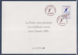 Encart Double Voeux De La Poste 1992 Parcours De La Flamme La Rochelle 20.12.1991 N°2732