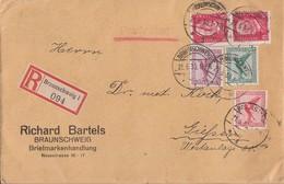 DR R-Brief Mif Minr.378,379,A379,2x 414 Braunschweig 21.5.30 Gel. Nach Giessen - Deutschland