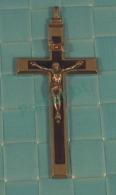 Croix -   Croix Pectorale De Religieuse , Crome Et Ebene -  11.5 X 5.5 X 1 Cm , 16 Oz, 46 Gr 3 Scans