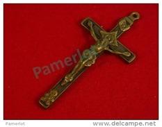 Pré 1900 Croix De Chapelet  (Crucifix à 4 Clous, Laiton Et Bois Faconnée à La Main  Crane Et Ossement D´Adam ) 5 Scans