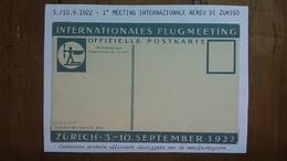 Svizzera Cartolina Postale Ufficiale I° Meeting Aereo Zurigo 1922 Nuova + Spese Prioritaria
