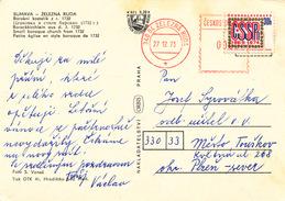 L3122 - Czechoslovakia (1973) 340 04 Zelezna Ruda (Post Office Franking Machine); Postcard: Zelezna Ruda; Tariff: 30 H