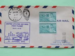USA 1953 First Flight Cover El Dorado (Shreveport Back Cancel) To Philadelphia - 4-H Club Clover Farm Boy Girl (x2) - Lo - Stati Uniti