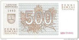 Lithuania - Pick 46 - 500 Talonu 1993 - Unc - Lithuania