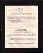 ANVERS Théophile VAN DIEREN époux PELGRIMS Mede Bestuurder Van HET HANDELSBLAD Van ANTWERPEN 1855-1918 Doodsbrief - Décès