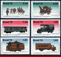 Ref. BR-1582-87 BRAZIL 1978 - TRANSPORT, MAIL TRANSPORTATION, CAR,, HORSE, TRUCK, TRAIN, UPU ,LOOSE MNH,6V Sc# 1582-1587