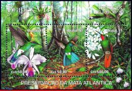 Ref. BR-2338 BRAZIL 1991 BIRDS, PREVENTION FOREST,ORCHIDS, ,HUMMINGBIRDS,BRAPEX, MI# B86, S/S MNH 3V Sc# 2338