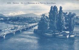 Switzerland Geneve Ile J J Rousseau et le Pont du Mont-Blanc