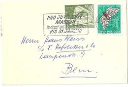 Neujahrsbrieflein  Biel/Bienne - Bern  (Mischfrankatur / Flagge PJ)            1954
