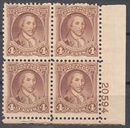 UNITED STATES     SCOTT NO. 709     MNH     YEAR  1932    PLATE BLOCK